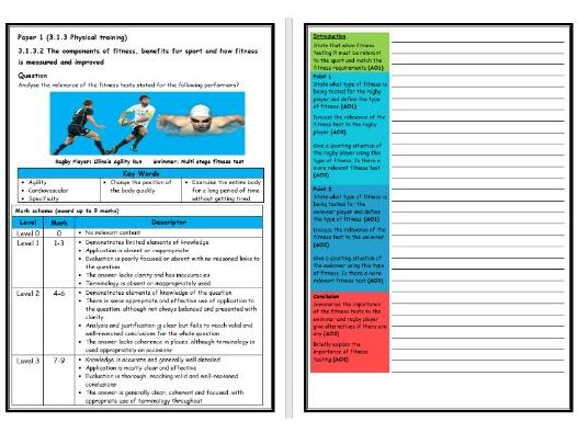 GCSE PE - AQA (9-1) - Structure Strip - Fitness Testing (2) (Extended Question)