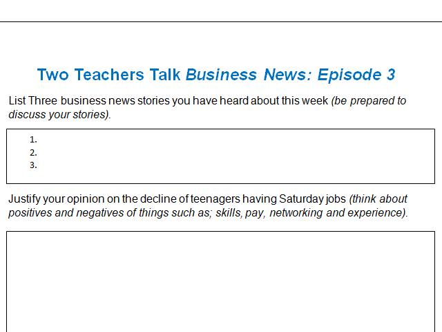 Activity Sheet | Two Teachers Talk Business News: Episode 3 (04/01/20)