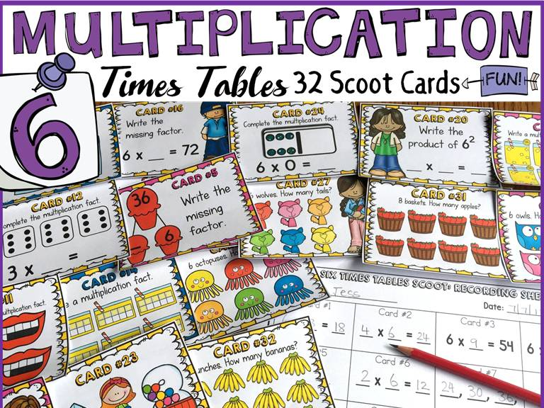 MULTIPLICATION: SIX TIMES TABLES FACTS: SCOOT CARDS