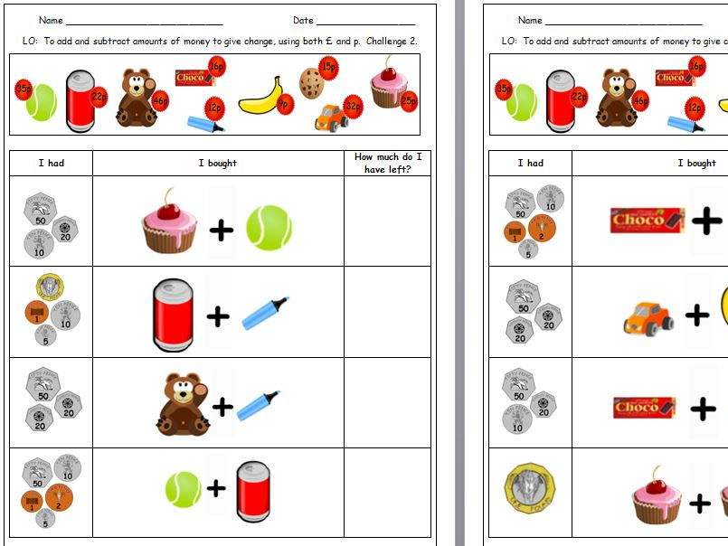 Y3 Money Differentiated Worksheets, Mastery Reasoning Challenges and Activities.