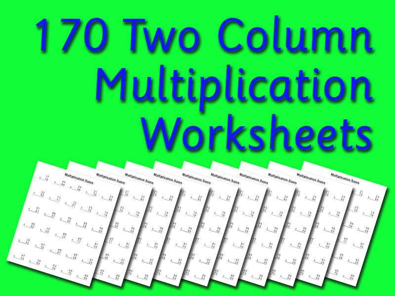 2 Column Multiplication Sums Revision (170 Worksheets)