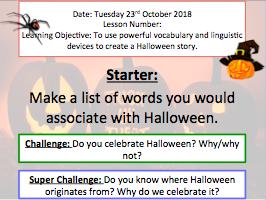 Halloween creative writing lesson (verbs, adverbs, adjectives, similes etc)
