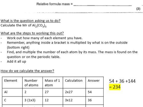 GCSE Chemistry - C3 Moles Calculation Help