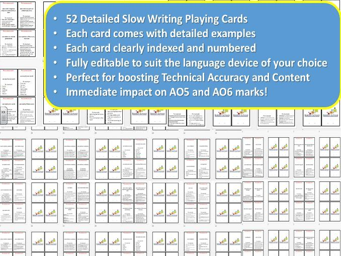 52 Slow Writing Playing Cards