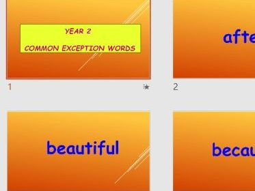 POWERPOINT OF COMMON EXCEPTION WORDS FLASHCARDS FOR YEAR 2