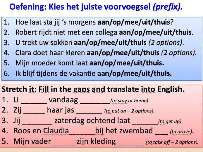 PPT Dutch: Separable Verbs - A1/A2
