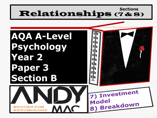 AQA A-Level Psychology:  Year 2 Relationships Module, Sections #7 Investment Model   #8: Breakdown