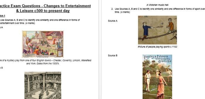 Eduqas/WJEC GCSE History Entertainment & Leisure - 54 practice exam questions NEW EXAM