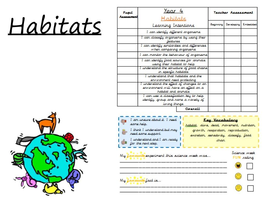 KS2 Science Habitats Presentation and Resources