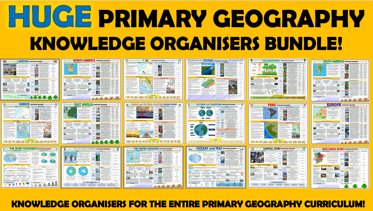Huge Primary Geography Knowledge Organisers Bundle!