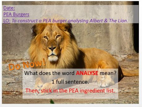 Albert & the Lion Poem  PEA response