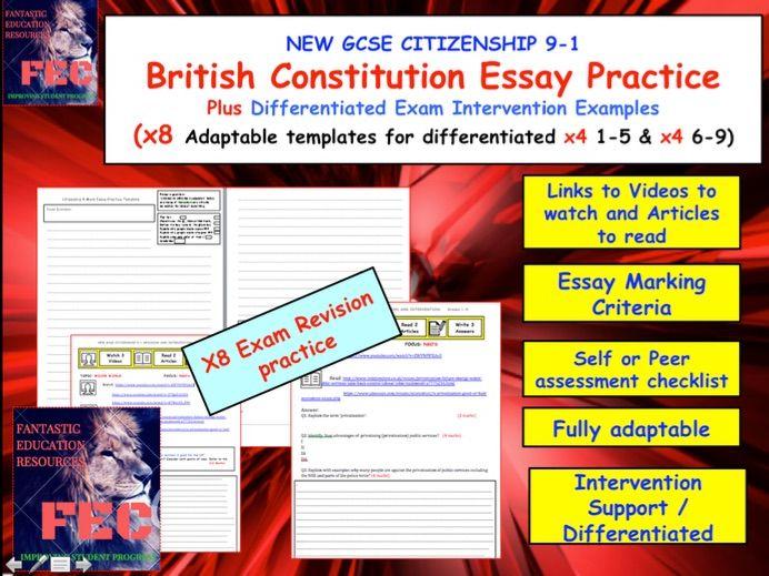 British constitution Essay and Exam Practice sheets GCSE Citizenship 9-1