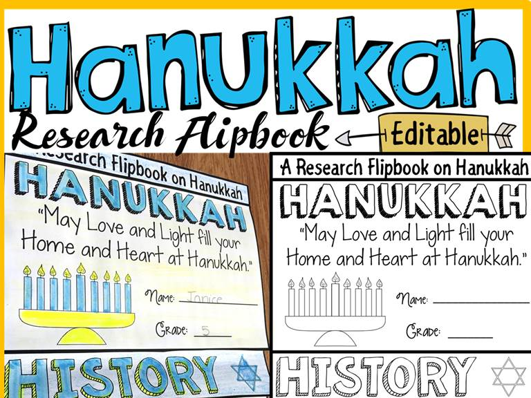 HANUKKAH EDITABLE FLIPBOOK: INFORMATION REPORT WRITING RESEARCH TEMPLATES