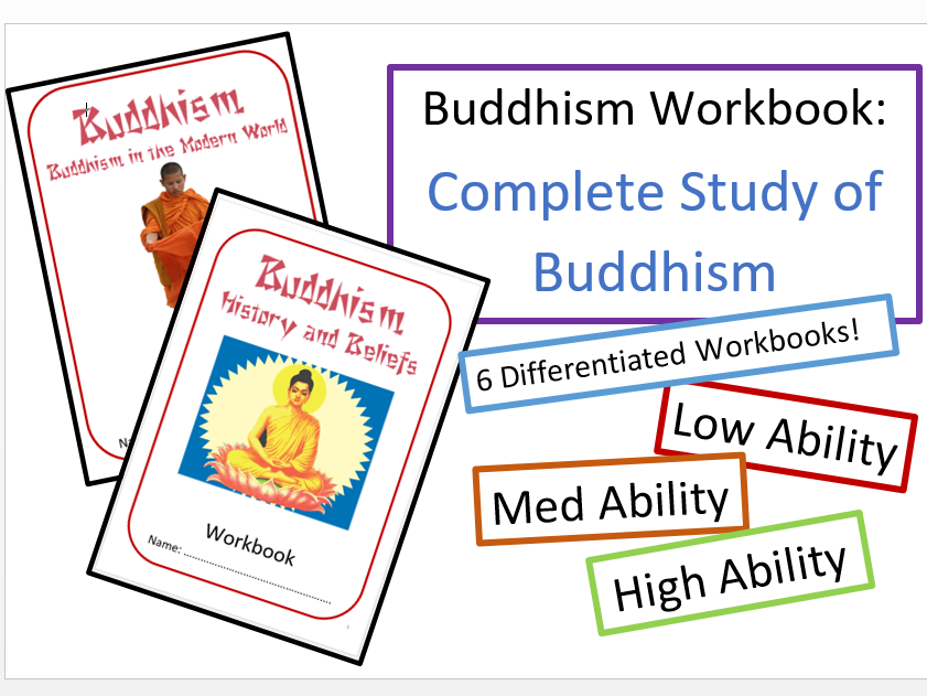 Study of Buddhism: Differentiated Workbooks Bundle: Low Mid and High Ability