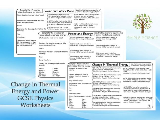GCSE Physics - Change in Thermal Energy and Power Worksheets