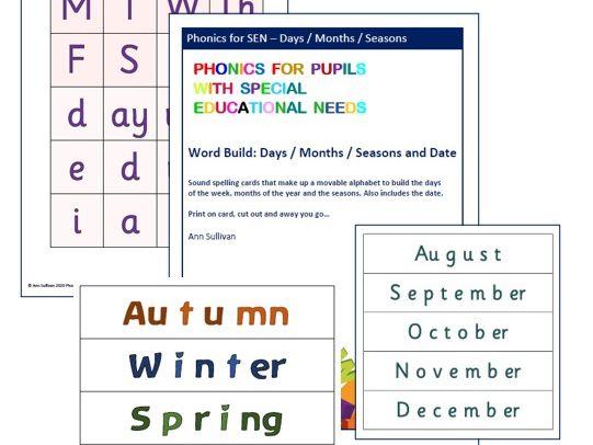 Days Months Seasons Date Word Build - 2 fonts - Phonics for SEN