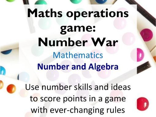 Maths number properties and operations playing card game: Number War