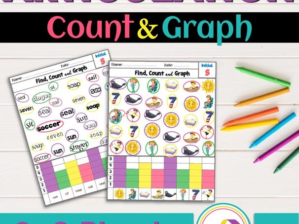 Articulation Activity; [S and S blends] Worksheets Find, Count and Graph