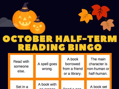 Halloween Book Reading Bingo Sheet