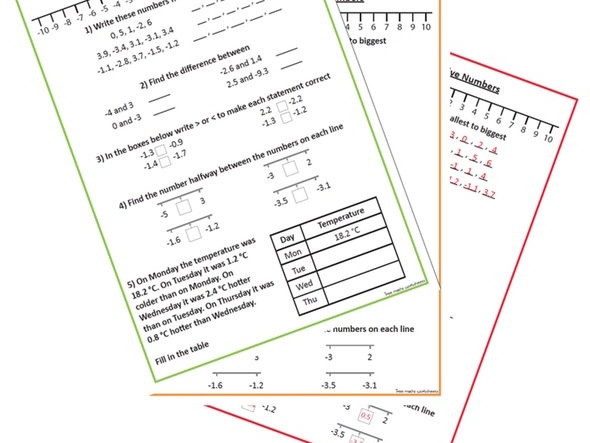 Positive and Negative Numbers - Ordering
