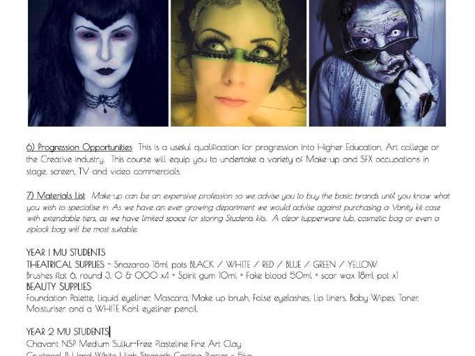 COURSE HANDBOOK - Btec L3 Production Arts - Specialising in Makeup for Subsidiary Diploma