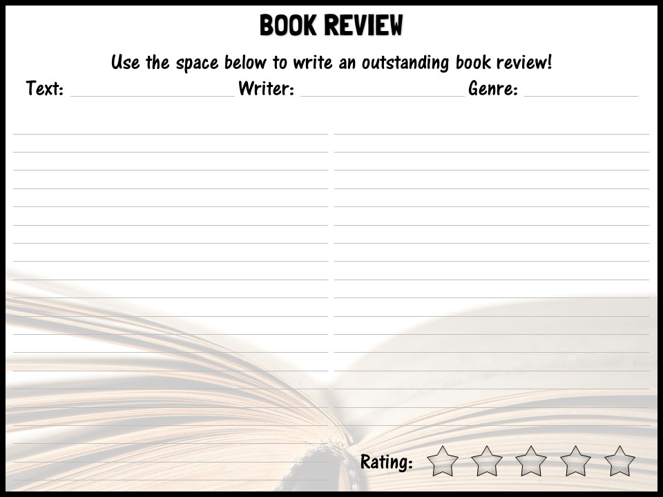 Book Review Template By Shaunandrewwilliams  Teaching Resources  Tes