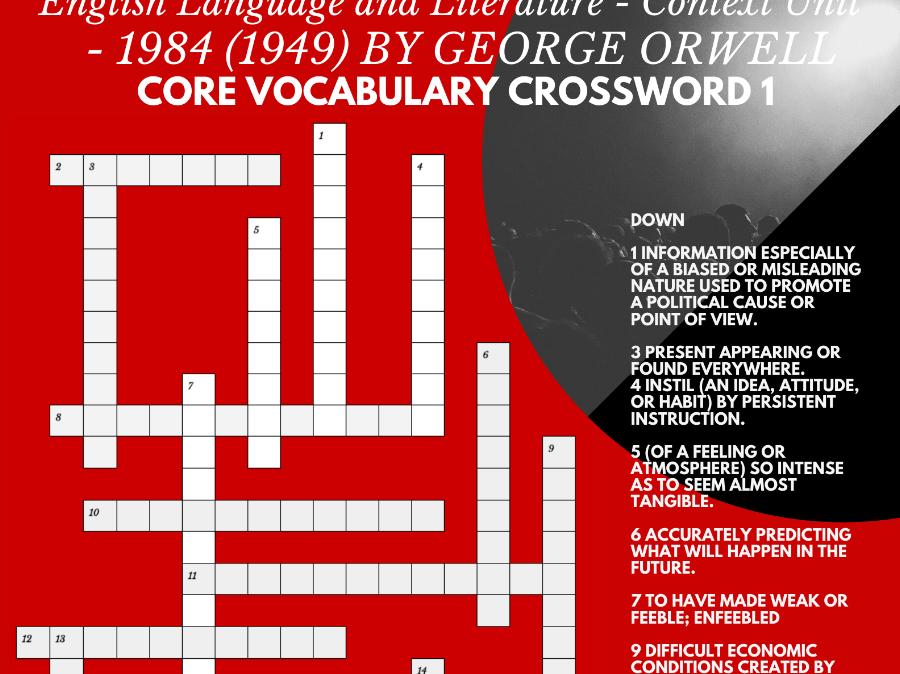 IBDP HSC AP English Language Literature Context 1984 Orwell CORE VOCABULARY CROSSWORD 1 FREE