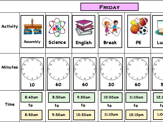 Autism friendly activity timetable