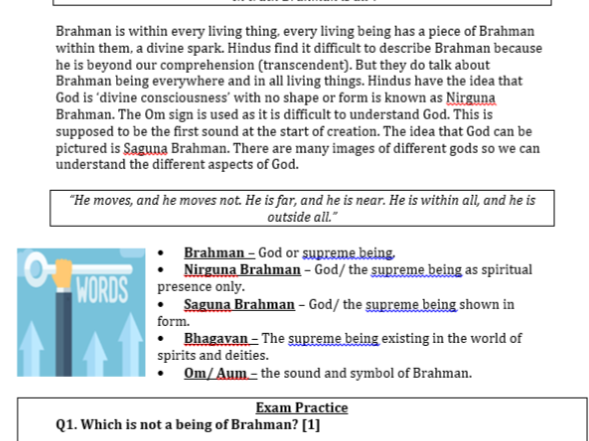 New Spec AQA RS Hinduism Beliefs Revision Guide