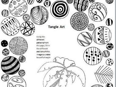Tangle Art Activity - Palm Tree