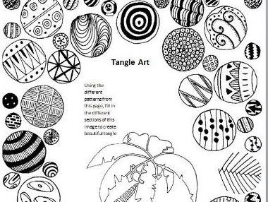 Tangle Art Activity - Palm Tree
