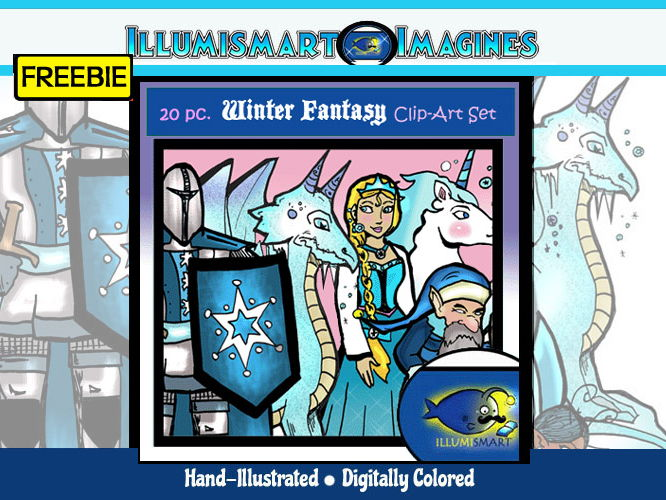Winter Fantasy 20 Pc Clip Art Bw Color By