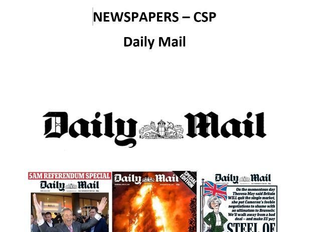 AQA A Level Media Studies - Daily Mail CSP