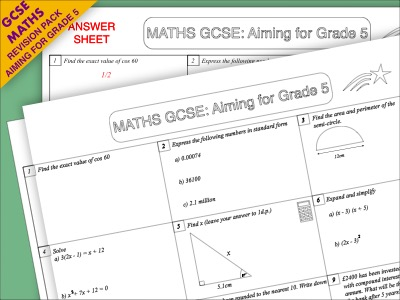 GCSE Maths Revision Pack: Aiming for Grade 5 (Pack 1)