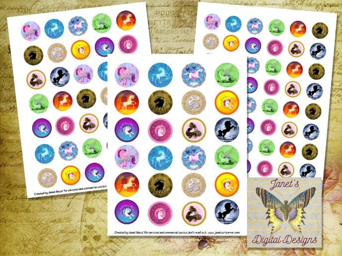 Unicorn Collage Sheets, Circle Images