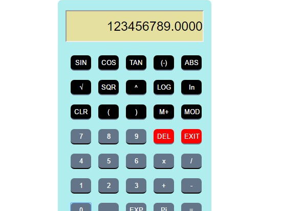 Scientific Calculator using HTML, CSS and JavaScript