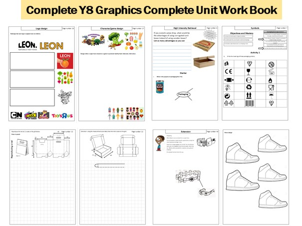 Complete Y8 Graphics  work book. Typography. Nets. Branding. Dimensions. Design movements