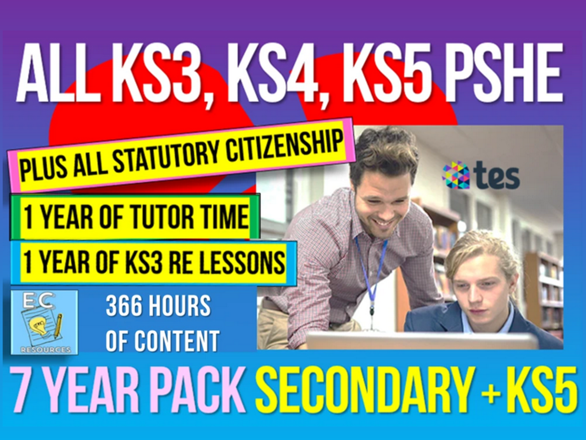 Complete Secondary + KS5 PSHE, RSE, Careers, Citizenship, RE + Tutor Time