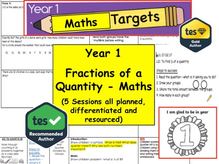Year 1 / 2 Fractions of a quantity x5 Sessions Resource Pack (Maths, Number, Fraction, Mastery)