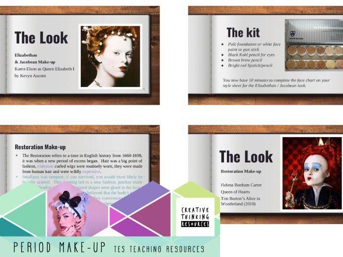 Period Make-up | Egyptian, Elizabethan, Restoration historical PP, Unit plan & handout