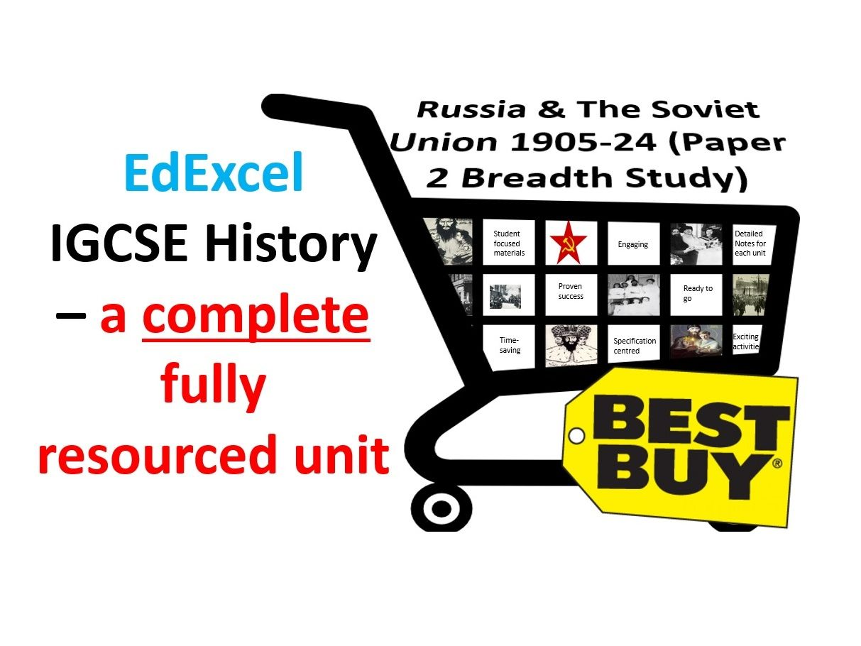 EdExcel IGCSE History – Russia & The Soviet Union 1905-24 Full Unit Paper 2 Breadth Study Bundle