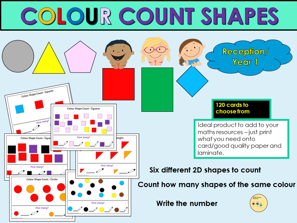Colour Count 2D Shapes Activity Cards - EYFS/Reception/Year 1