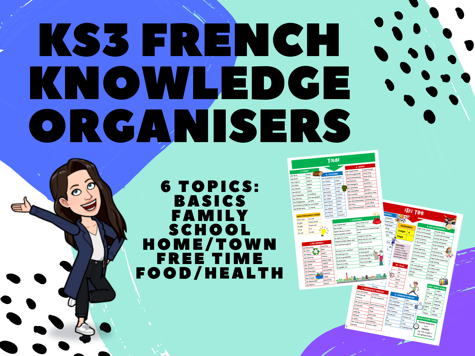 KS3 French Knowledge Organisers 6-Topic Bundle