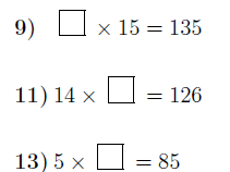 Multiplication: Finding missing numbers worksheets (with solutions)