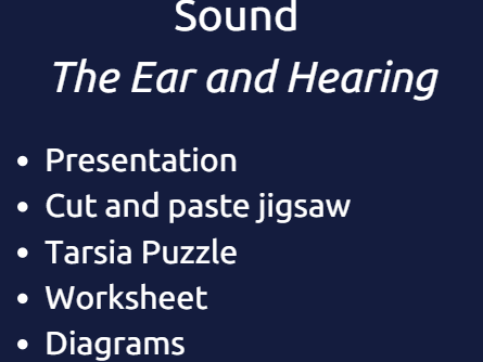 Sound - The Ear and Hearing -Jigsaw and Modelling activity Differentiated with Answers
