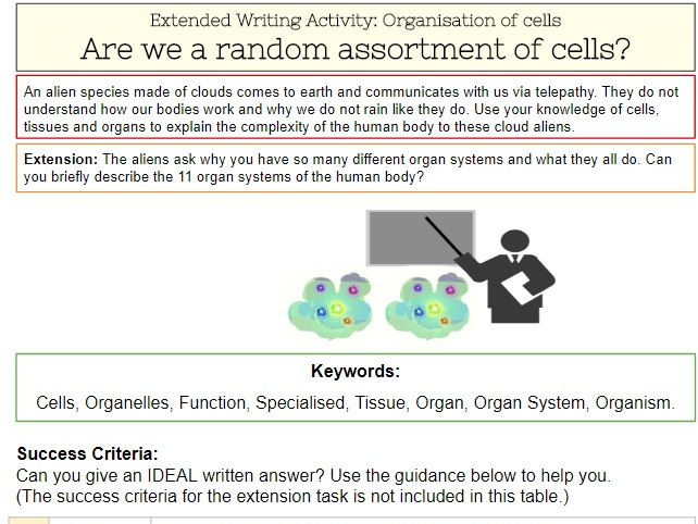 Cells to Organisms - Extended Writing Task (with Success Criteria and model answer)