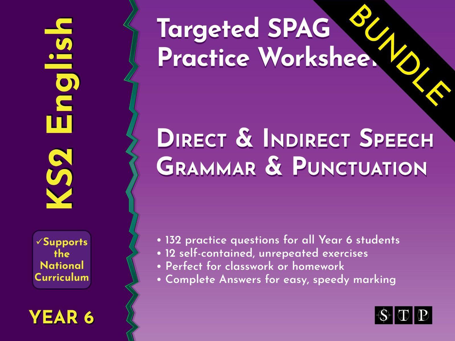 Direct Speech Indirect Speech Worksheets Bundle