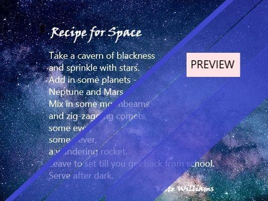 Space Recipe Poem + Blank Frame