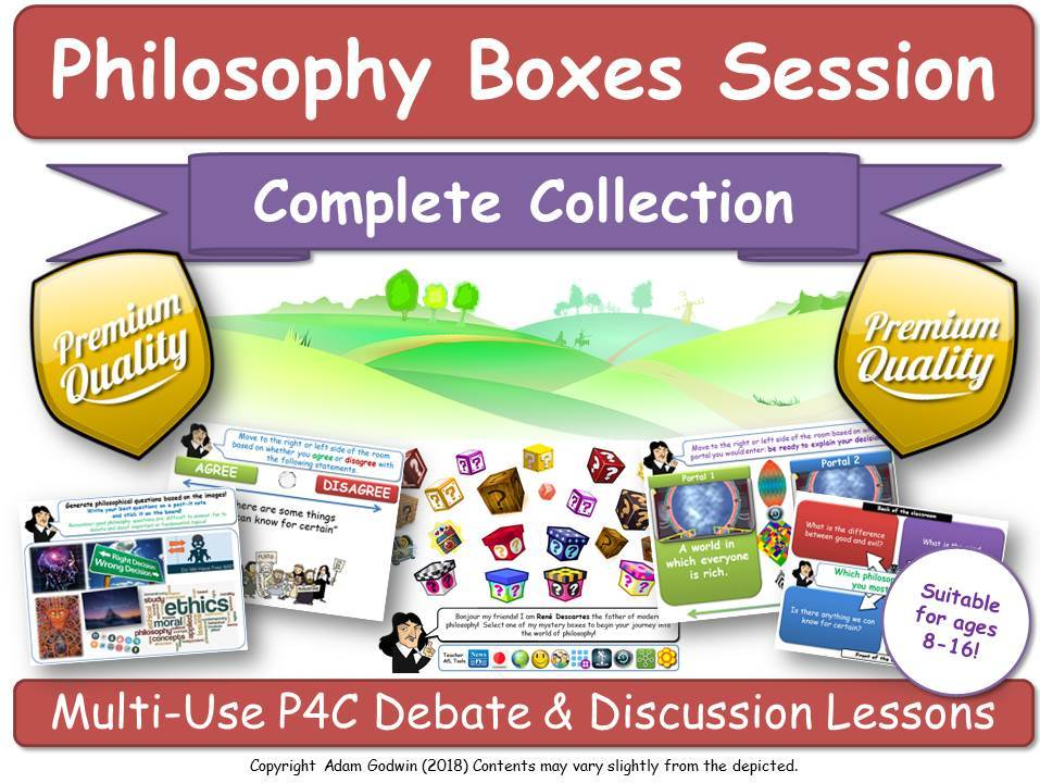 Philosophy Boxes - MASTER BUNDLE (19 Full Lessons + Template: CREATE YOUR OWN!) [P4C, Philosophy, Critical Thinking] KS1-3