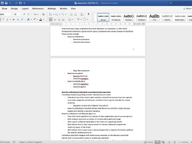Anarchism Notes: Edexcel A2 Gov & Pol Unit 3
